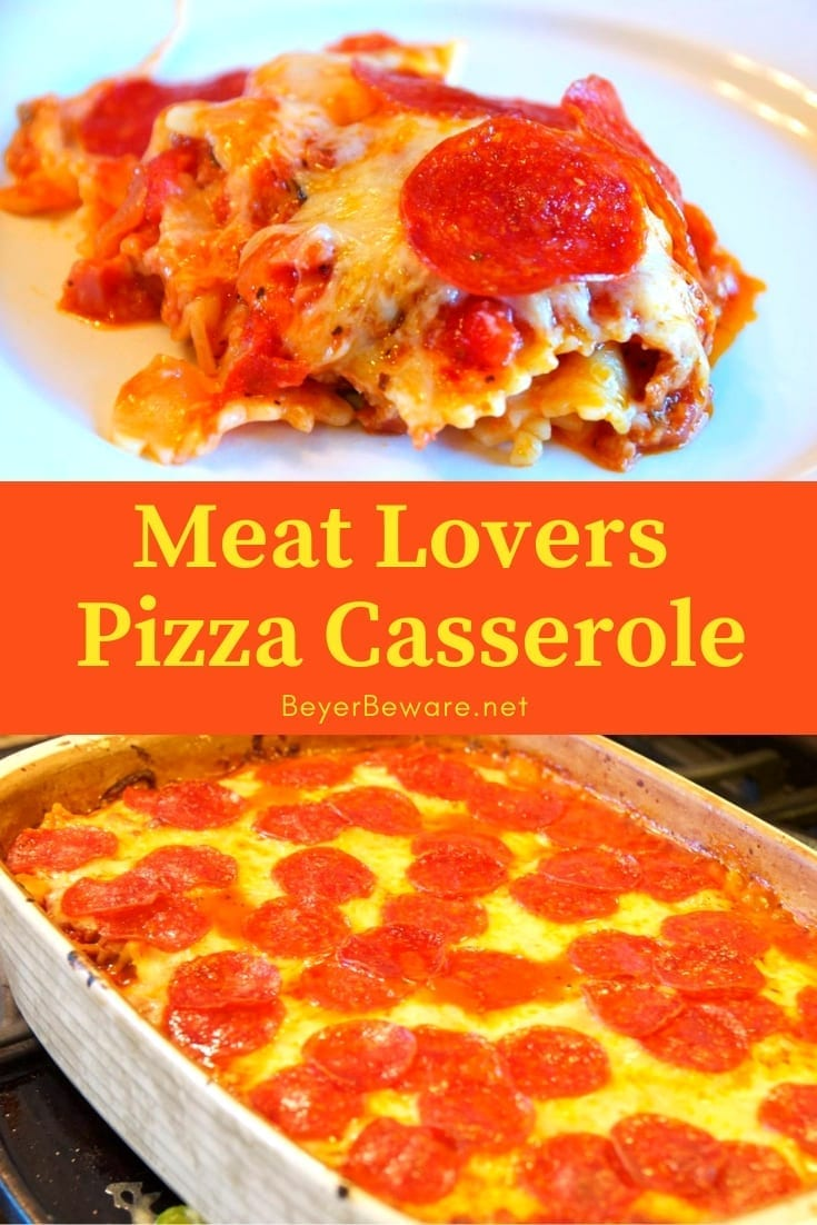 Meat lovers pizza casserole is a simple pizza pasta casserole recipe that embraces all of the things you love about pizza loaded with pepperoni and sausage.