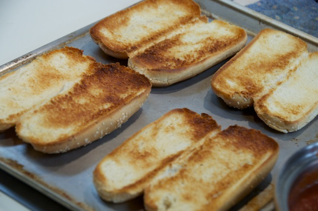 toasted buttered hoagie buns