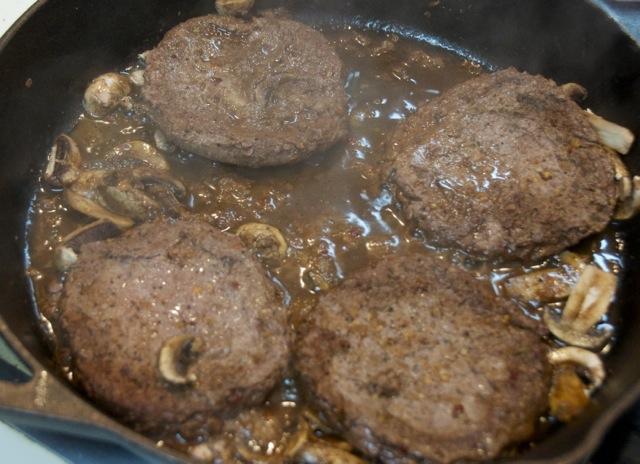 cooked beef patties