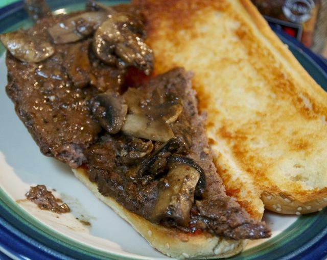Mushroom topped beef patties