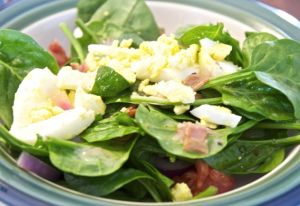 Hunk of Meat Monday: Spinach Salad with Hot Bacon Dressing