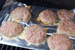 grilling bacon burgers