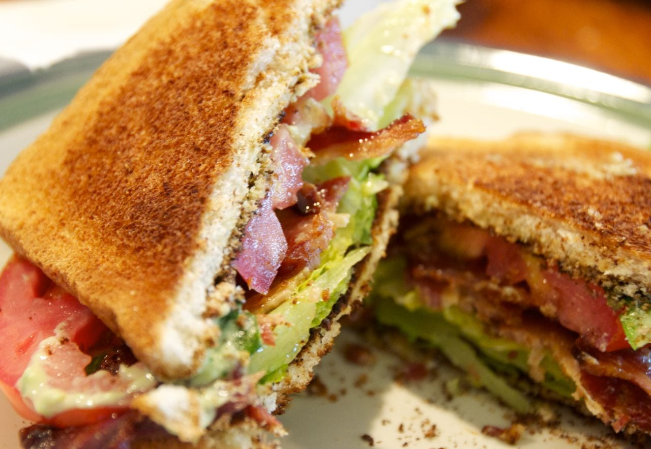 BLT with Avocado Aioli. Avocado Garlic Aioli is a great sandwich spread or chip and french fries dip.