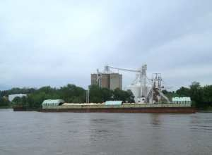 Grain Barge on the Mississippi River