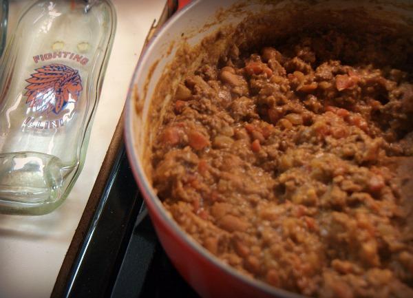 Quick Beef Burrito filling with Illini spoon rest