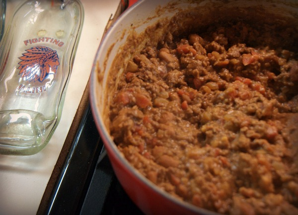 Quick Beef Burrito filling with Illini spoon rest