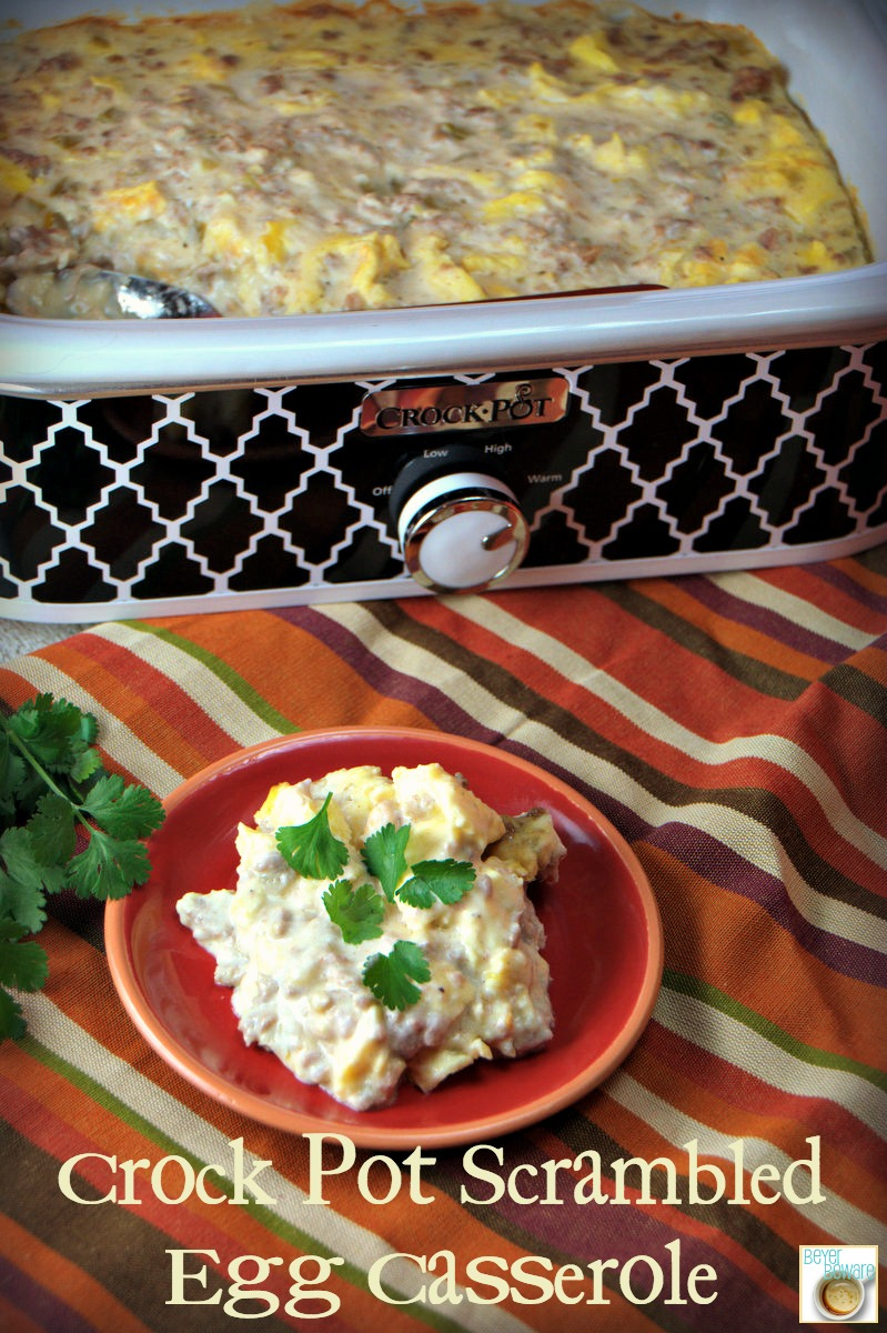 Crock Pot Scrambled Egg Casserole with sausage and green chilis is a great breakfast for supper meal that can dropped in the crock pot and forgot about while you out doing evening activities.