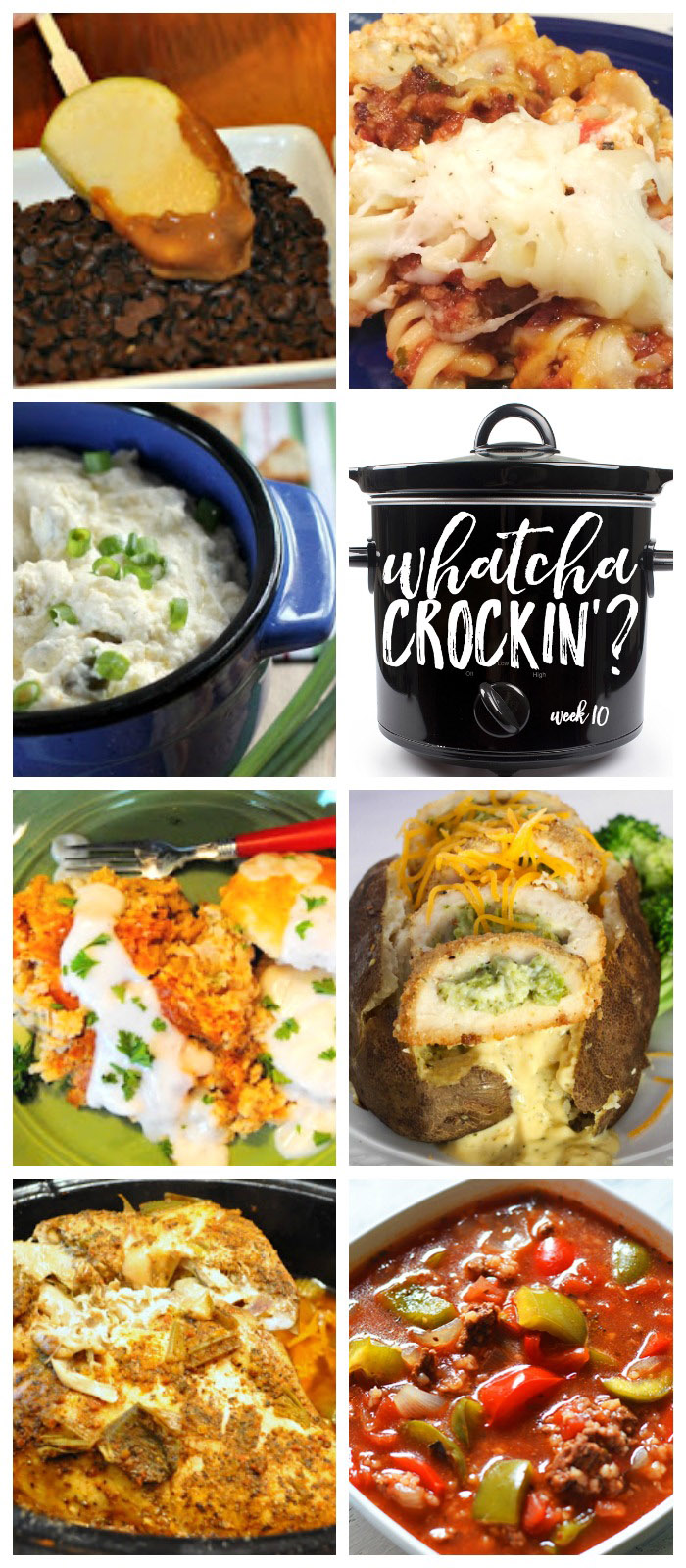 This week's Whatcha Crockin' crock pot recipes include Crock Pot Company Casserole, Hot Jalapeno & Chile Popper Dip, Slow Cooker Stuffed Pepper Soup, Crock Pot Caramel Apple Dippers, Crock Pot Turkey Breast, Chicken Broccoli Cheese Baked Potato, Slow Cooker Country Breakfast With White Pepper Gravy and Biscuits and more!