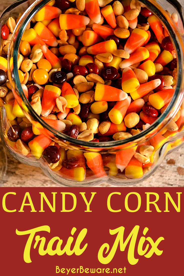 Candy corn trail mix has a combination of fall candy flavors that is just like a chocolate payday bar with the candy corn, peanut, and m&m trail mix.