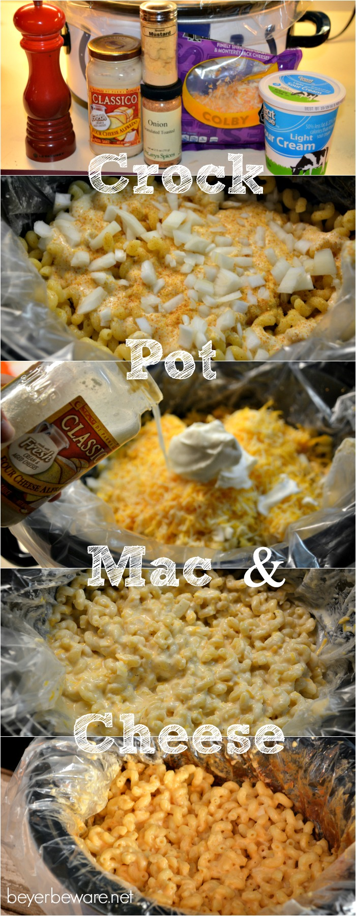 Crock pot mac and cheese recipe is a creamy mac n cheese recipe using alfredo sauce and sour cream to give the cheese plenty of reason to stay creamy.