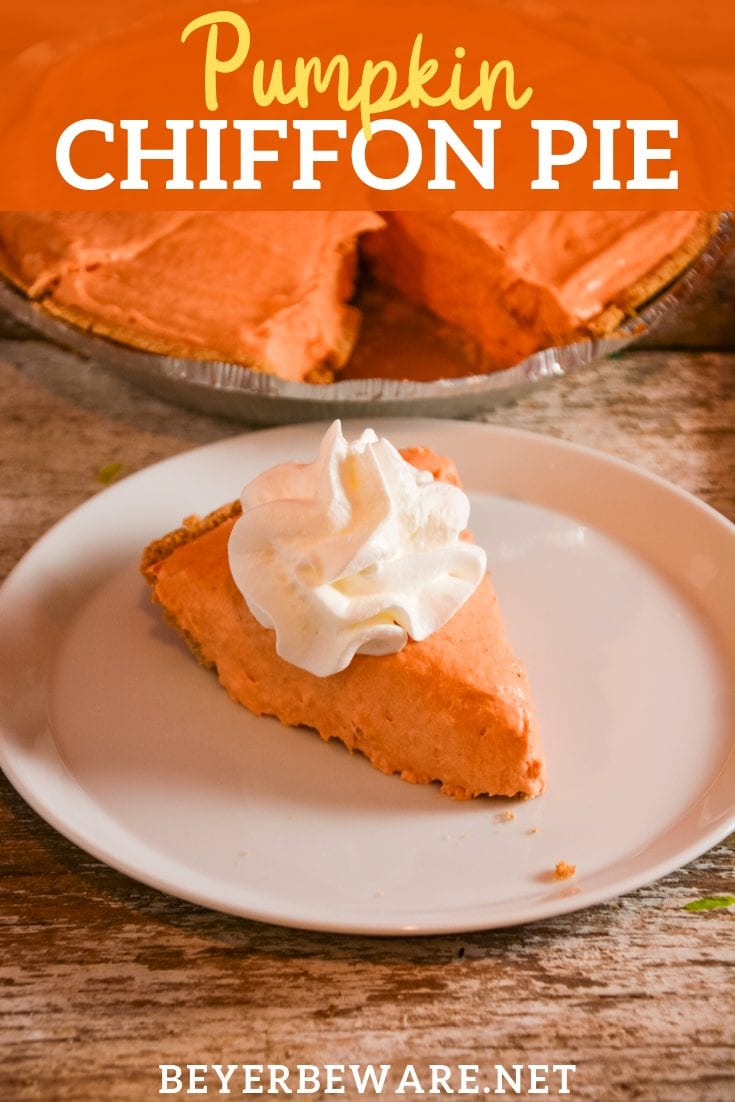 Pumpkin Chiffon Pie silky, creamy version of the traditional pumpkin pie. This no-bake pie recipe is made with real pumpkin, pudding, and cool whip. #Pumpkin #PumpkinPie #Dessert #Thanksgiving #Pie #NoBake