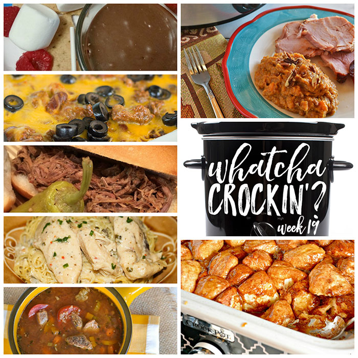 This week's Whatcha Crockin' crock pot recipes include Crock Pot Italian Beef Sandwiches, Crock Pot Chili Cheese Casserole, Slow Cooker Mashed Sweet Potatoes, Crock Pot Beef Quinoa Stew, Crock Pot Angel Chicken, Crock Pot Caramel S'Mores Fondue, Crock Pot Monkey Bread and much more!