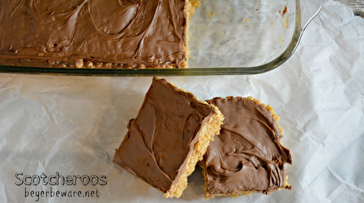 Scotcheroos are the peanut butter rice krispies treats everyone will crave. The no-bake peanut butter chocolate bars ready in under 15 minutes.
