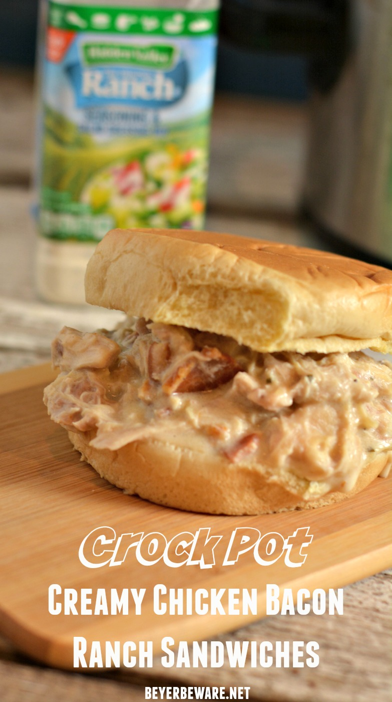 A simple crock pot creamy chicken bacon ranch sandwiches recipe is the perfect shredded chicken sandwich for a busy weeknight meal.