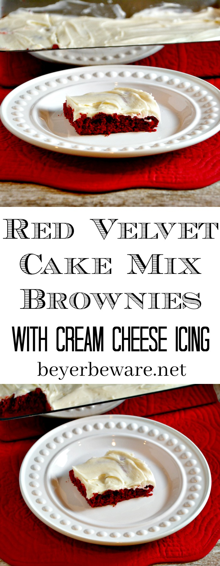 Red Velvet Cream Cheese Brownies From Cake Mix