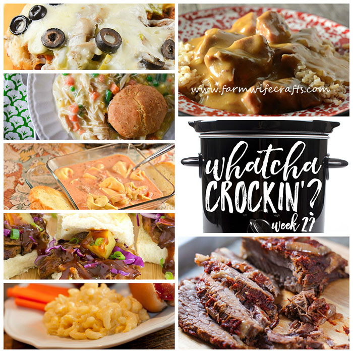 This week's Whatcha Crockin' crock pot recipes include Slow Cooker Beef Stew and Rice, Crock Pot Chicken Pot Pie, Crock Pot Pizza Bake, Slow Cooker Beef Brisket, Crock Pot Mac 'n Cheese, Crock Pot Sausage Tortellini Soup, Crock Pot Pineapple Char Sui Pulled Pork and much more!