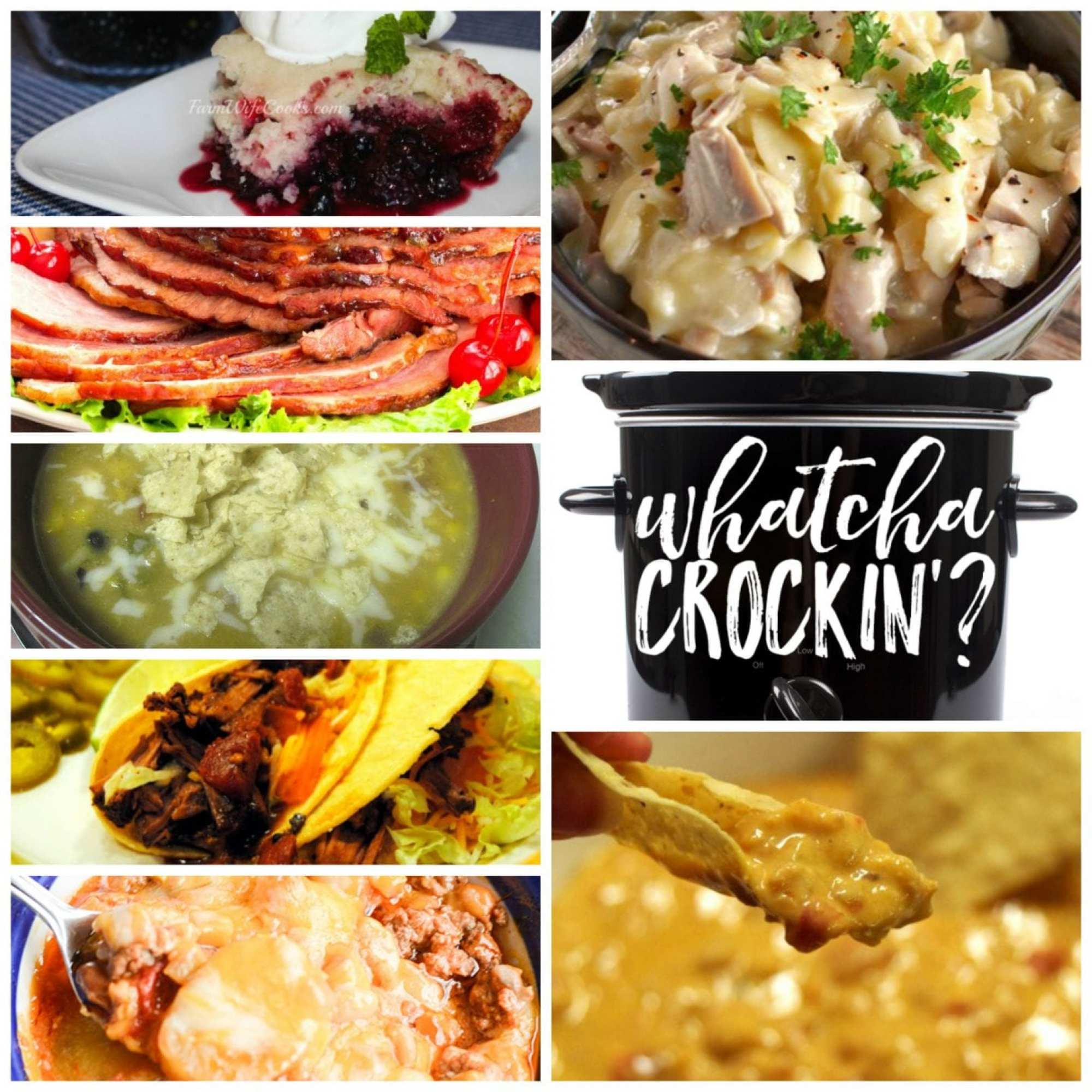 This week's Whatcha Crockin' crock pot recipes include Slow Cooker Chicken and Noodles, Slow Cooker Chicken Enchilada Soup, Crock Pot Cowboy Casserole, Mixed Berry Dump Cake, Slow Cooked Pineapple Brown Sugar Glazed Ham, Texas Queso Dip, Slow Cooker Mexican Pot Roast Tacosand much more!