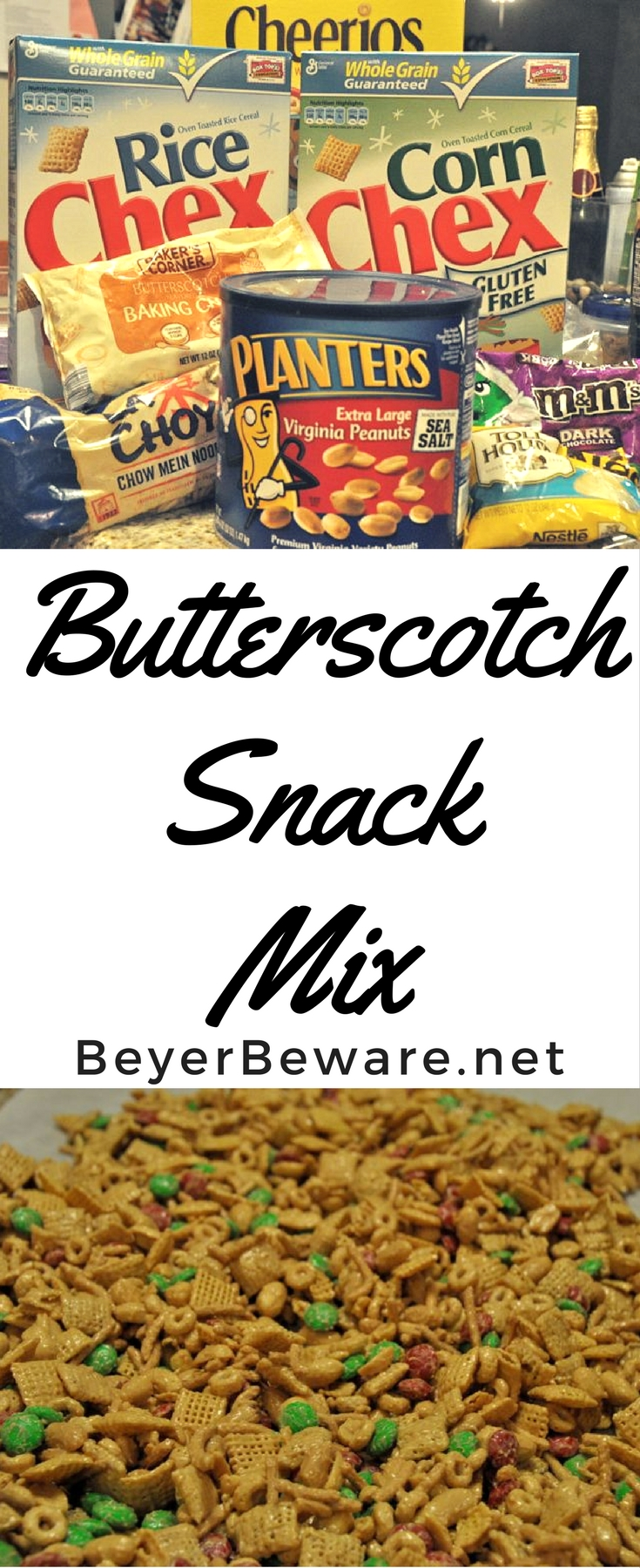 Butterscotch Snack Mix is the sweet and salty combinations of Chex and Cheerio cereal, peanuts, and candy covered in butterscotch and peanut butter coating.