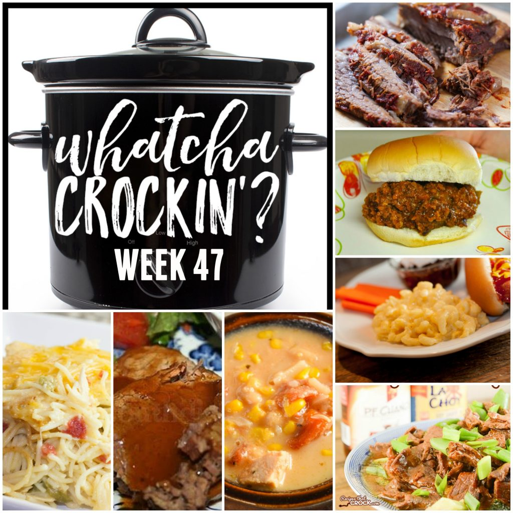 Are you looking for some new crock pot recipes? Something that will help make your busy schedule just a little bit easier? This week's Whatcha Crockin' crock pot recipes include Crock Pot Spicy Cheesy Chicken Spaghetti, Slow Cooker Beef Brisket, Crock Pot Chicken Corn Chowder, Crock Pot Sloppy Joe's for a Crowd, Easy Crock Pot Mongolian Beef, Slow Cooker Turkey and Stuffing Casserole, Creamy Crock Pot Mac and Cheese and Crockpot Coca Cola Roast Beef with Gravy and many more!