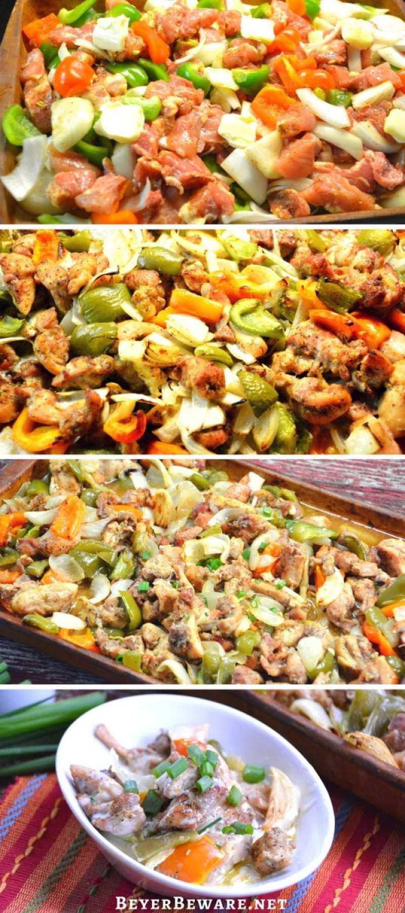 Low-Carb Queso Fajitas are a simple sheet pan baked fajita recipe that becomes cheesy chicken fajitas perfect for keto and low-carb diets.