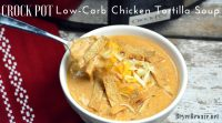I am obsessed with chicken tortilla soup from Max and Erma's. This crock pot low-carb chicken tortilla soup is creamy and hearty and will not leave you craving. #Keto #LowCarb
