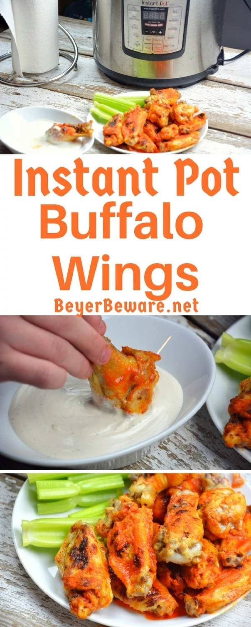 These Instant Pot Buffalo wings were quick to make chicken buffalo wings yet resulted in fall of the bone tenderness all while being drenched in an easy butter and Franks hot sauce buffalo sauce.