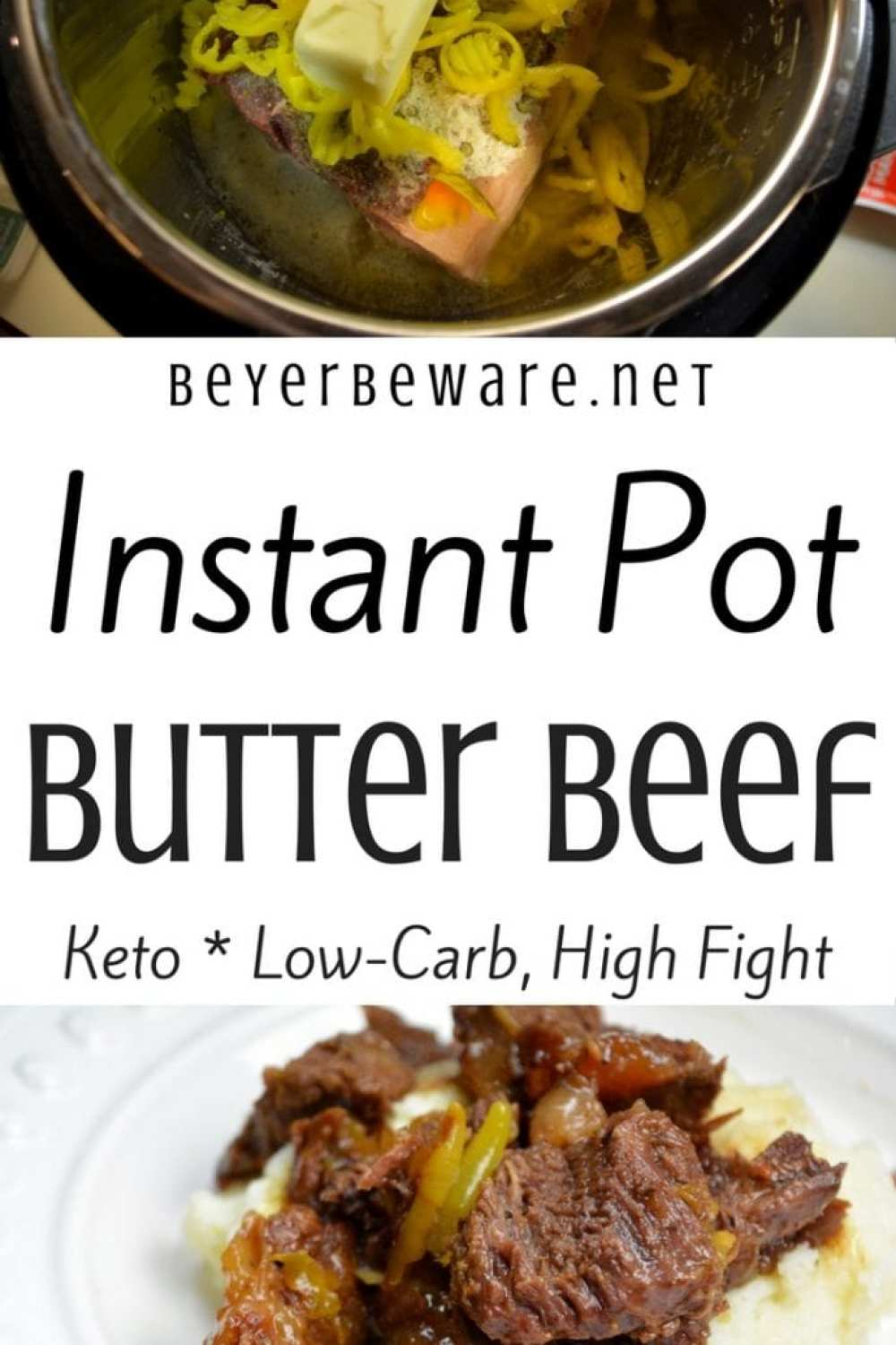 Keto Instant Pot butter beef recipe is my favorite keto roast recipe because it is full of flavor, tender to eat and perfect over mashed cauliflower or potatoes for those not on a low-carb diet. #Keto