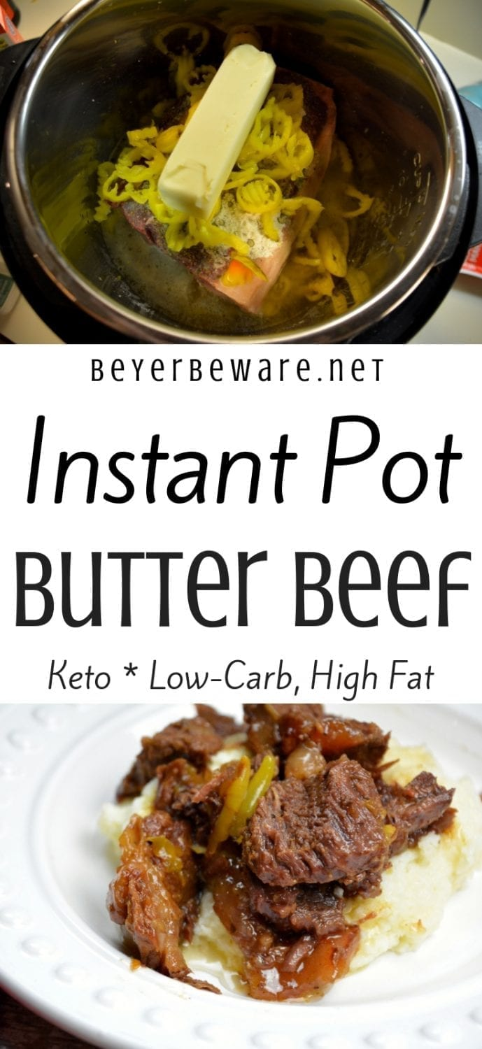 Instant Pot butter beef recipe is my favorite keto roast recipe because it is full of flavor thanks to the ranch and Italian dressing plus butter and banana peppers, tender to eat and perfect over mashed cauliflower or potatoes for people not on low-carb diets. #Keto #InstantPot #Butter #Beef #LowCarb