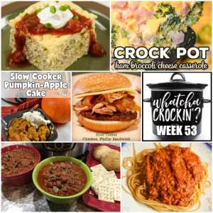 This week's Whatcha Crockin' crock pot recipes include Instant Pot Chugwater Chili, Slow Cooker Pork and Beans, Slow Cooker Pumpkin Apple Cake, Low Carb Slow Cooker Santa Fe Omelet, Crock Pot Ham Broccoli Cheese Casserole, Slow Cooker Spaghetti Sauce, Crock Pot Chicken Philly Sandwiches and more!