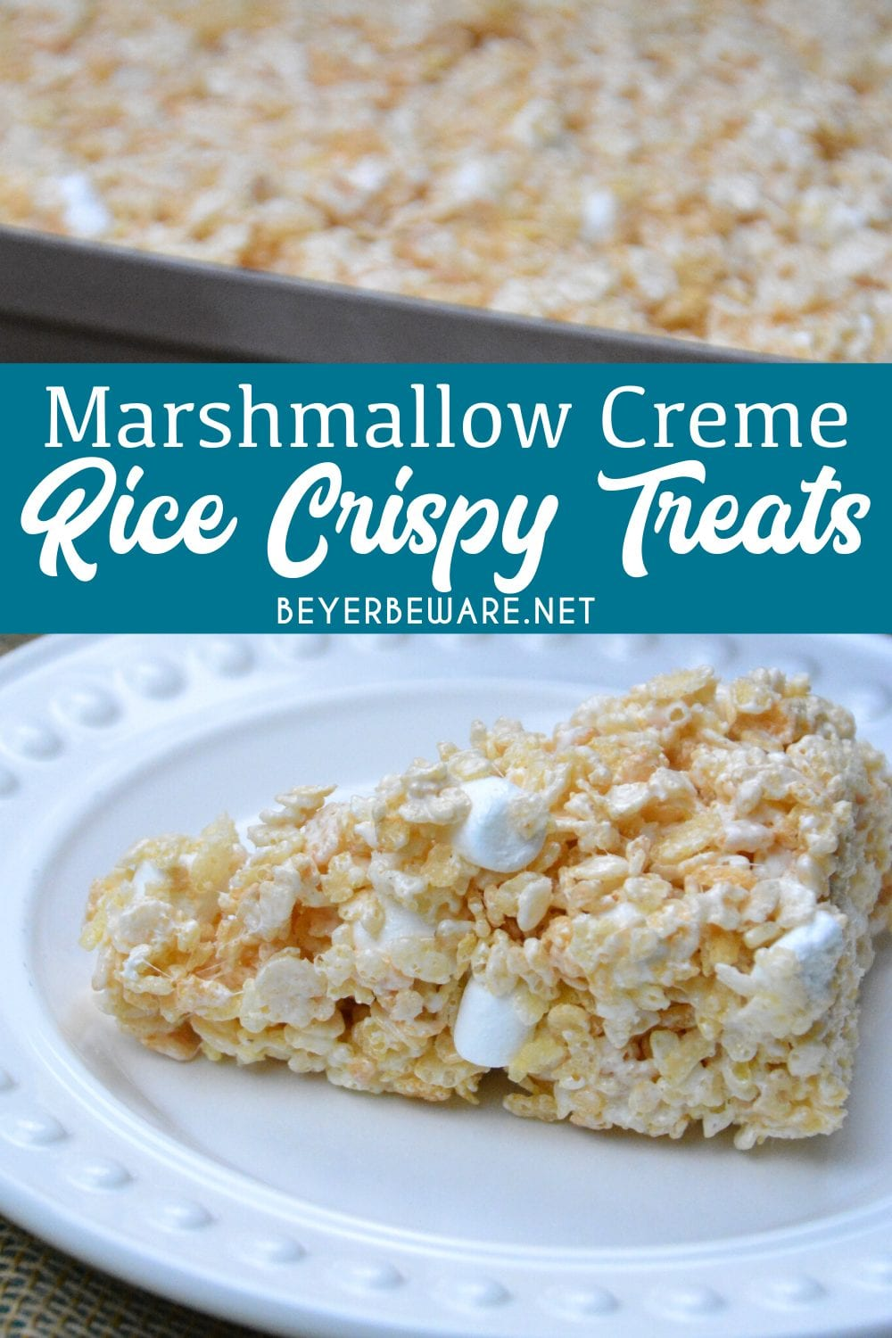 Marshmallow creme rice crispy treats are the no-bake, gluten-free dessert every child loves and is so easy to make with marshmallow fluff, butter, marshmallows, and Rice Krispies. #Recipes #RiceKrispies #Dessert #GlutenFree #RiceKrispiesTreats #Marshmallow