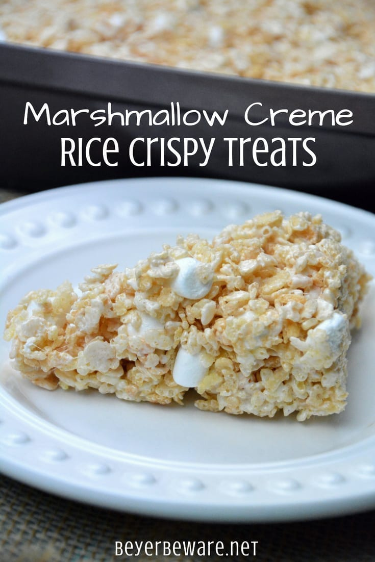 Marshmallow creme rice crispy treats are the only way to make these rice krispies treats. I have perfected the best rice crispy treats recipe which is actually the combination of marshmallow creme along with miniature marshmallows, butter and an entire box of cereal.