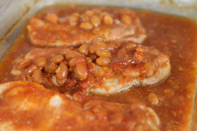 Crock Pot Pork Chops and Baked Beans