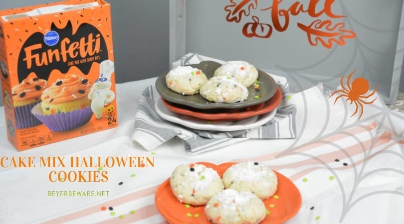 Cake Mix Halloween Cookies are a sweet combination of the funfetticake mix with cream cheese, butter, vanilla, and eggs to form the softest cookies everyone will love. #cookies #CakeMix #CakeMixRecipes #CakeMixCookies