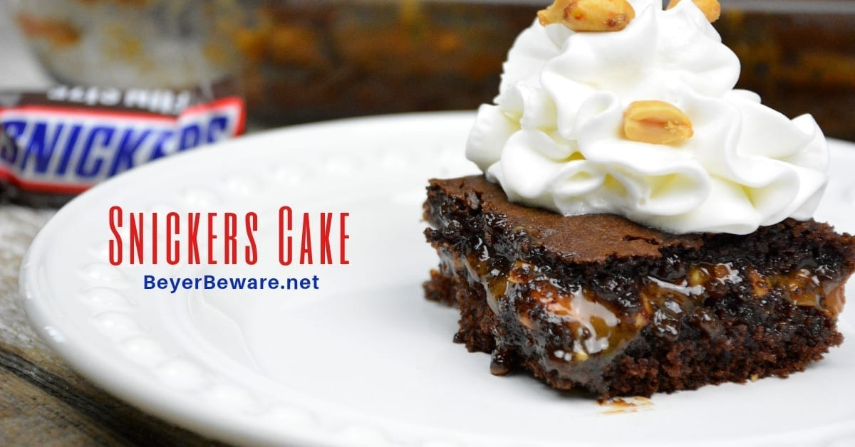 Snickers Cake – Caramel Peanut Filled Chocolate Cake
