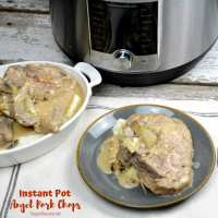 Instant Pot Angel pork chops recipe combines wine, Italian seasonings, onions and mushrooms with cream of mushroom soup and cream cheese for a rich and creamy pork chop recipe. #Instantpot #Porkchops