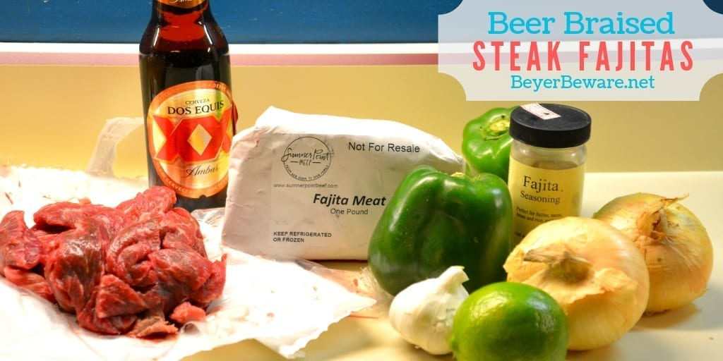 Beer braised steak fajitas are a quick skillet beef fajita recipe thanks to some fajita meat and tenderizing from the beer. #Fajitas #Steak #QuickMeals