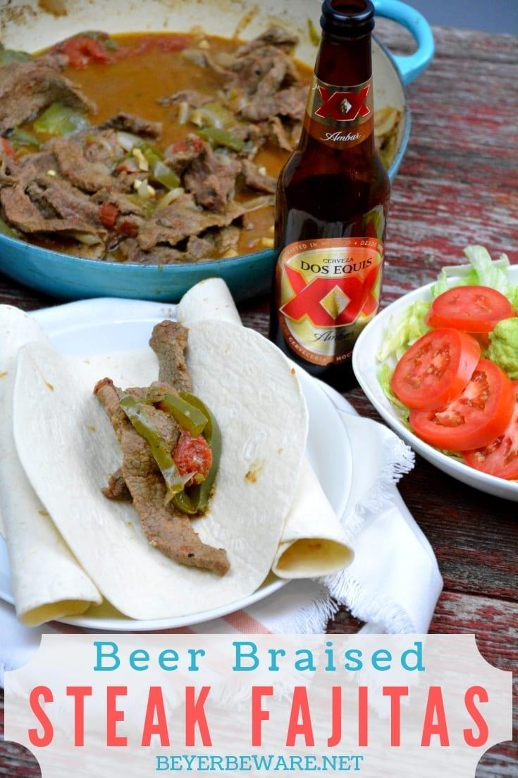 Beer braised steak fajitas are a quick skillet beef fajita recipe thanks to some fajita meat and tenderizing from the beer. #Fajitas #Steak #QuickMeals