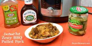 Instant Pot Zesty BBQ Pulled Pork makes a pork shoulder a flavorful and juicing bbq pulled pork with the help of root beer and zesty Italian dressing in 90 minutes. #PulledPork #BBQ #BBQPork #InstantPot #Pork #BBQPork