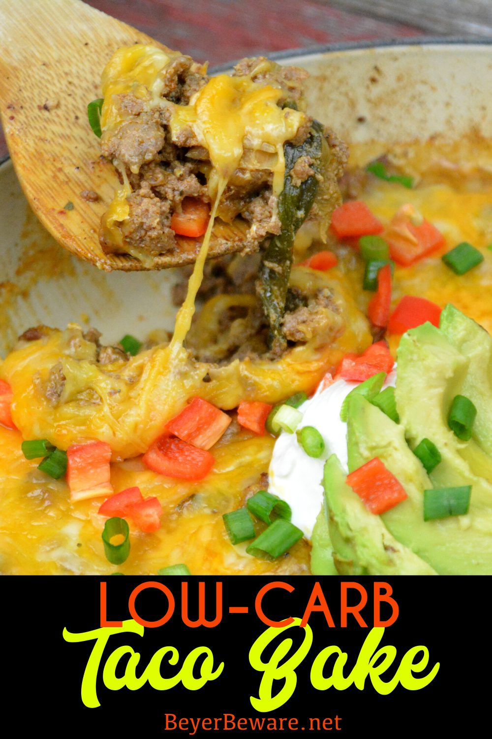 Low-Carb Taco Bake combines the favorite flavors of Mexican food in one pan for a meal that is baked to a flavorful and cheesy keto taco ground beef casserole. #keto #lowcarb #TacoBake #easyrecipe