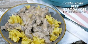Cube steak beef stroganoff recipe is one that is made gluten-free and can be served over noodles or rice for your family while it is also great over cauliflower rice for a low-carb beef stroganoff. #Lowcarb #Beef #CubeSteaks #EasyDinner #DinnerRecipes #Recipes