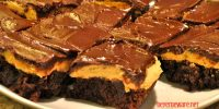 Buckeye brownies are a basic boxed brownie mix topped off with a smooth and creamy peanut butter frosting and chocolate ganache.