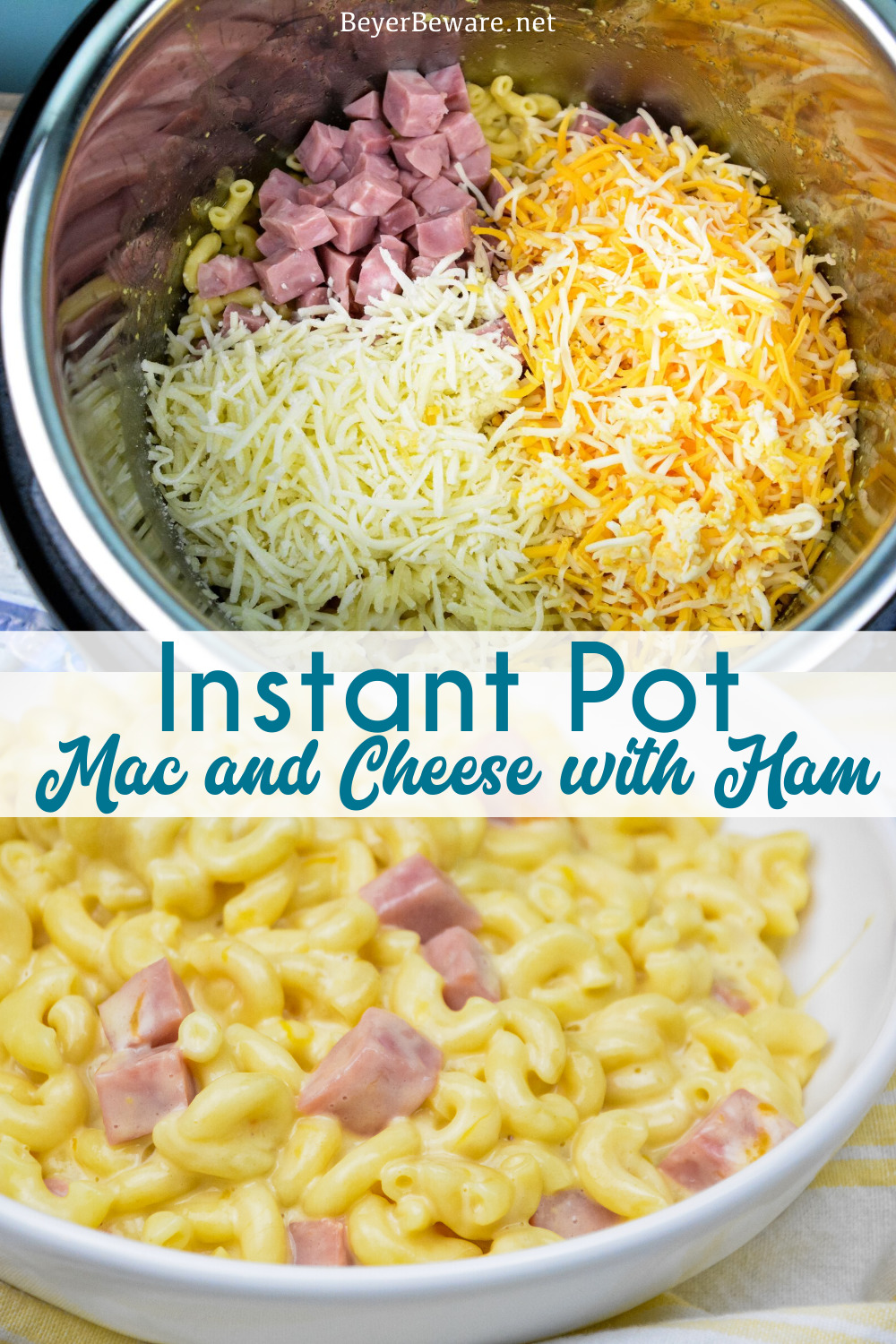 Instant Pot mac and cheese with ham is a quick dinner recipe using three kinds of cheese and leftover ham that is done in under 15-minutes and all cooked in the Instant Pot. #InstantPot #MacandCheese #DinnerIdeas #QuickDinnerRecipes #Recipe #Cheese