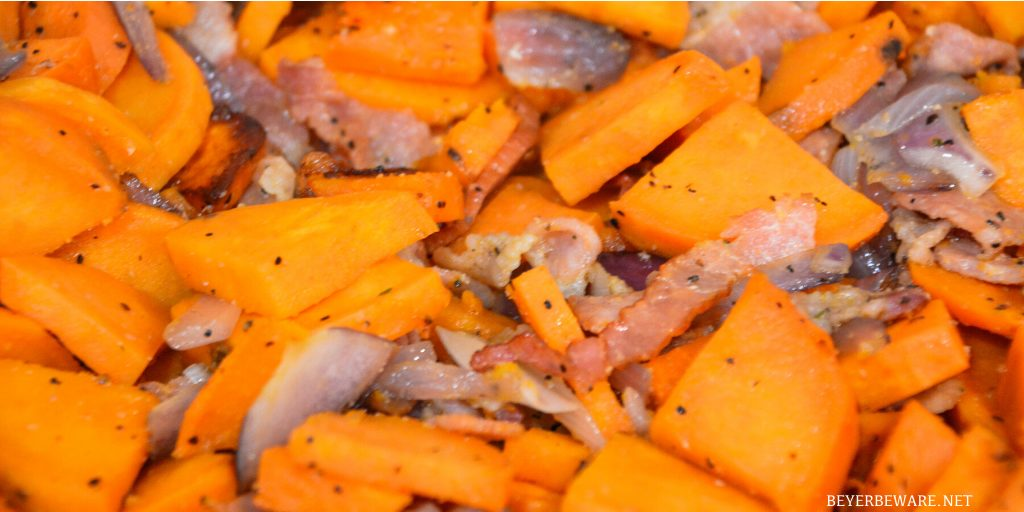 Grilled Sweet Potatoes with Bacon and Onions are an easy grilled side dish recipe perfect for your next BBQ.