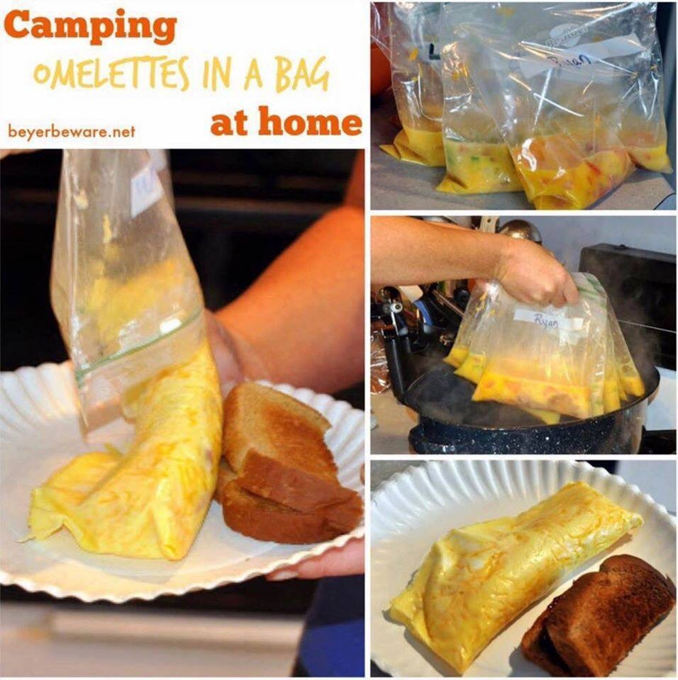 Omelettes in a bag are perfect for camping or if have a group to feed breakfast to at home to make individualized requests for eggs, quickly. #Omelettes #Breakfast #Camping