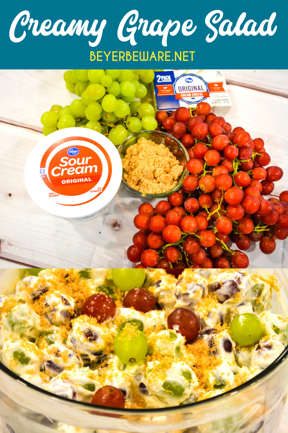 Cream cheese grape salad is an easy 5-ingredient fruit salad recipe made with red and green grapes, cream cheese, sour cream, and brown sugar.#EasyRecipe #GrapeSalad #EasyRecipe #FruitSalad #Fruit