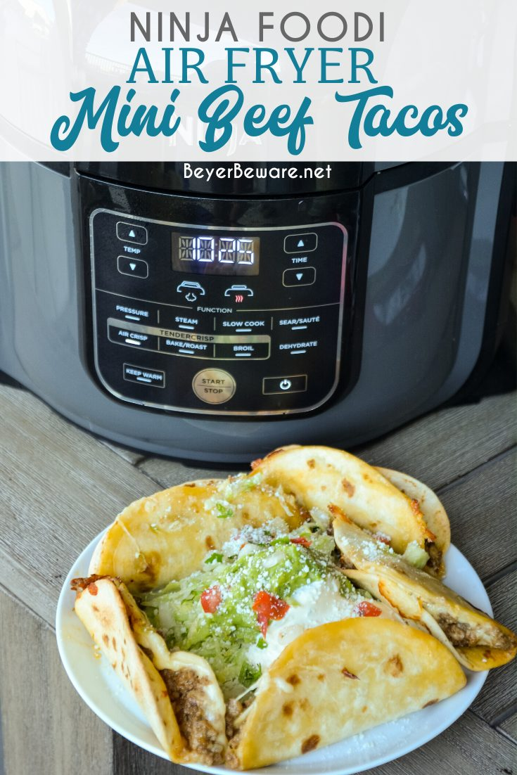 Ninja Foodi air fryer mini beef tacos are made with street taco flour tortillas, ground beef and cheese then air fried until crisp. So easy to make and so good.