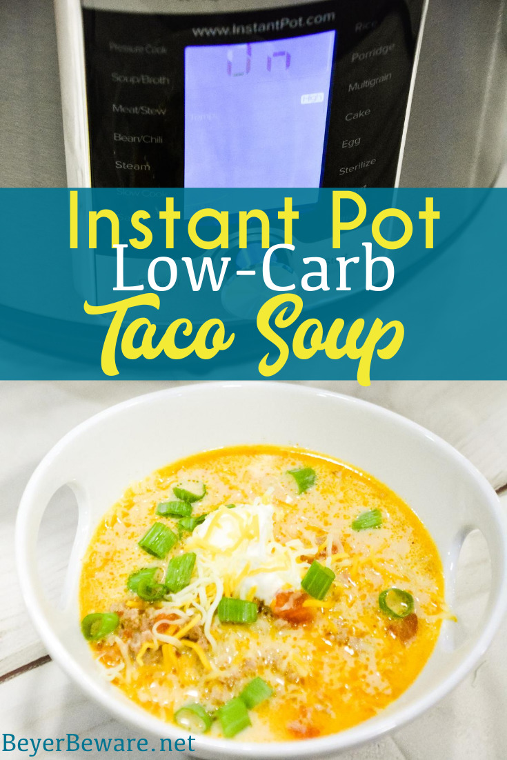 Instant Pot Low-Carb Taco Soup is a simple 5 ingredient taco soup that is done in under 30 minutes and is one of our favorite keto soup recipes.