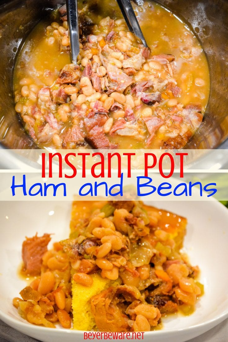 Instant Pot Ham and Beans served over freshly baked cornbread is the ultimate comfort food made in just a fraction of the time compared to a slow cooker. #InstantPot #Ham #Recipes #ComfortFood #WeeknightDinners