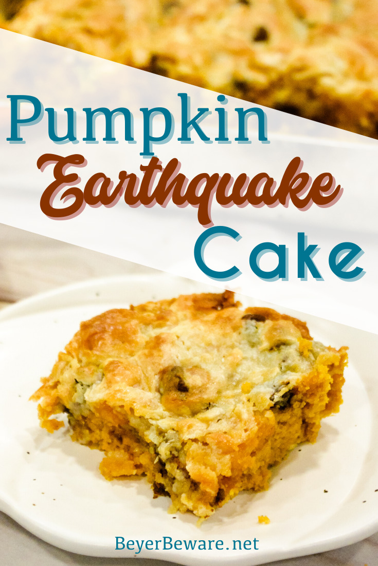 Pumpkin Chocolate Chip Earthquake Cake is the simple recipe of a three-ingredient cake with a buttery cream cheese and chocolate chip topping for the best pumpkin recipe. #Pumpkin #PSL #cake #Baking #Chocolate #Recipes