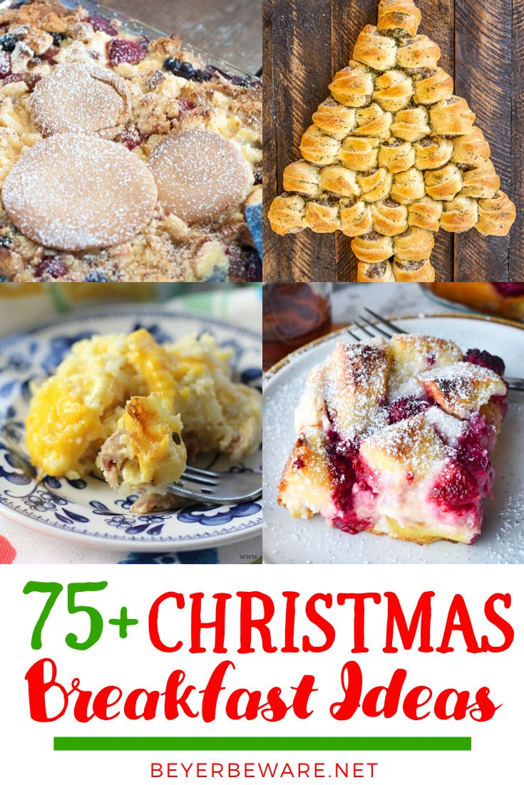 This list of Christmas morning breakfast ideas is everything you need for brunch or breakfast from drinks to eggs to pastries to fruit trays. #Recipes #Breakfast #Bacon #Eggs #ChrsitmasMorning